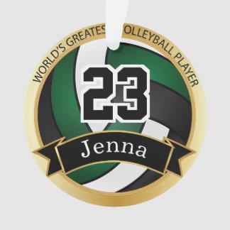 Ornamento Texto verde escuro, preto e branco do voleibol  
