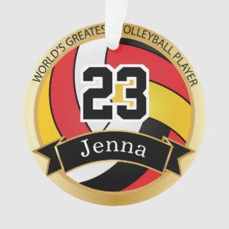 Ornamento Texto vermelho, preto e amarelo do voleibol 7%