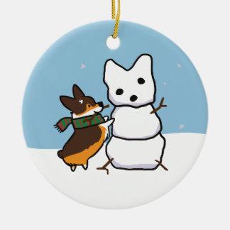 Ornamento Tricolor | CorgiThings do boneco de neve