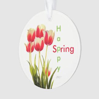 Ornamento Tulipas vermelhas do primavera feliz com lembrança
