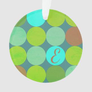 Ornamento Turquesa da cerceta do verde limão & monograma dos