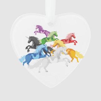 Ornamento Unicórnios selvagens coloridos da ilustração