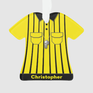 Ornamento Uniforme amarelo do árbitro do futebol