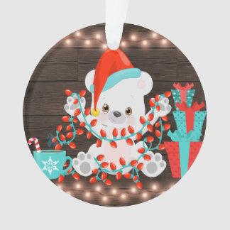Ornamento Urso polar pequeno bonito com luzes de Natal