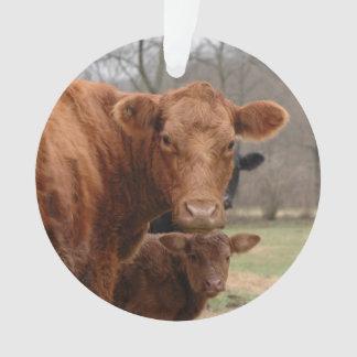 Ornamento vaca vermelha com sua vitela