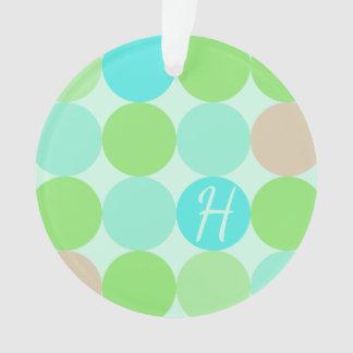 Ornamento Verde azul de turquesa & monograma dos círculos da