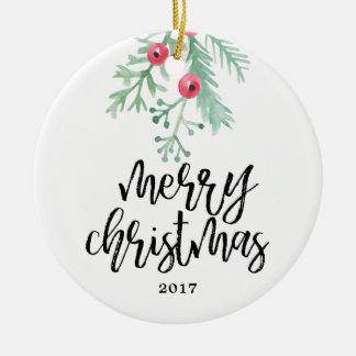 Ornamento verde da foto do feriado do Natal