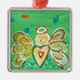 Ornamento verde do anjo do Natal da coragem