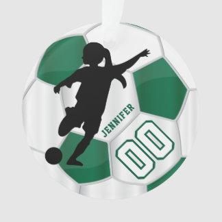 Ornamento Verde escuro & branco personalize o jogador de