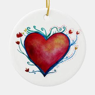Ornamento vermelho da arte da aguarela do coração