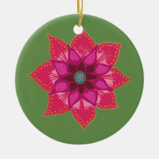 Ornamento vermelho do círculo da arte da flor da