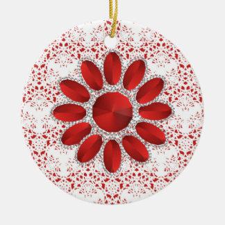 Ornamento vermelho do círculo da flor do Xmas