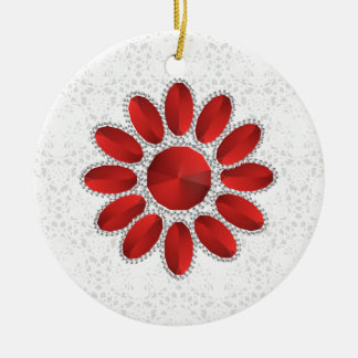 Ornamento vermelho do círculo da flor do Xmas da