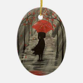 Ornamento vermelho do guarda-chuva da chuva do
