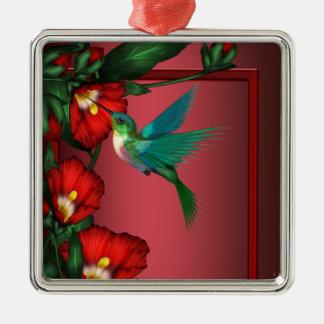 Ornamento vermelho do hibiscus do colibri
