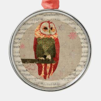 Ornamento vermelho dos flocos de neve da coruja do