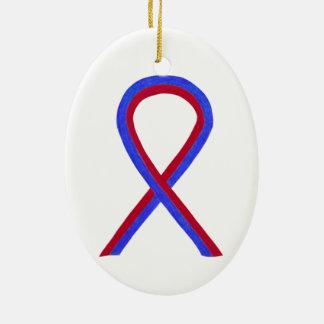 Ornamento vermelho e azul do costume da fita da