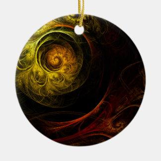 Ornamento vermelho floral do círculo da arte