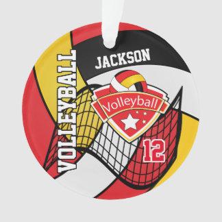 Ornamento Vermelho, preto, branco e voleibol 2 do ouro