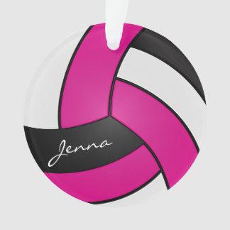 Ornamento Voleibol quente do rosa, o branco e o preto