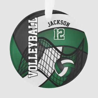 Ornamento Voleibol verde escuro, branco & preto