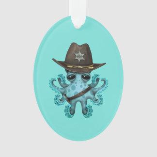 Ornamento Xerife bonito do polvo do bebê azul