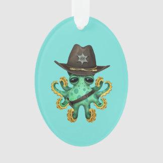 Ornamento Xerife verde bonito do polvo do bebê