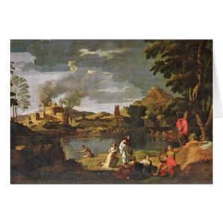 Orpheus e Eurídice por Poussin Nicolas Cartão Comemorativo