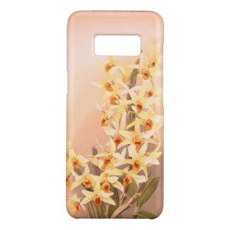 Orquídea amarela do vintage da capa de telefone de