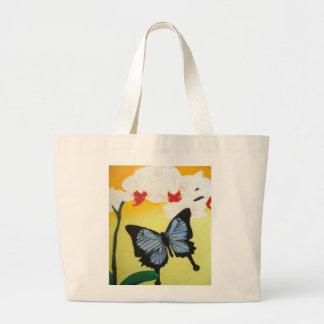 Orquídea e borboleta azul bolsa para compras