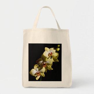 Orquídeas amarelas sacola tote de mercado