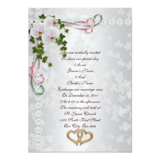 Orquídeas do branco do convite do casamento