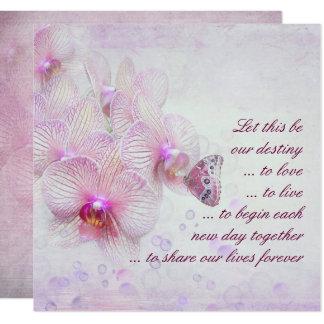 Orquídeas e convite cor-de-rosa do casamento da