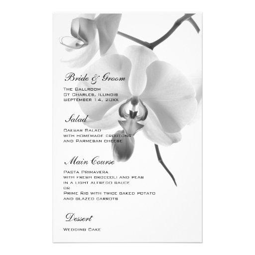 Orquídeas preto e branco que Wedding o menu Papeis Personalizados