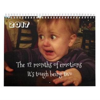 Os 12 meses de problemas da emoção-criança. calendário
