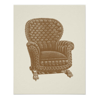 Os 1900s da cadeira de Brown do balancim do vintag Poster