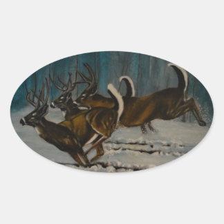 Os 3 cervos adesivo oval
