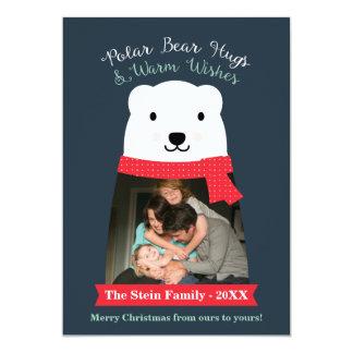 Os abraços de urso polar e aquecem a foto dos convite 12.7 x 17.78cm