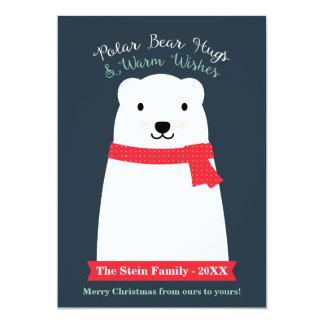 Os abraços de urso polar e aquecem desejos convite 12.7 x 17.78cm