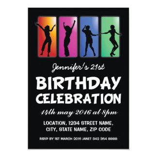 Os adultos coloridos da dança personalizaram o convite 12.7 x 17.78cm
