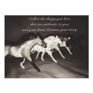 Os amantes modelo do cavalo recolhem as coisas que cartão postal