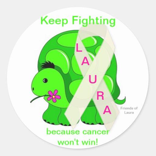 Os amigos de Laura, mantêm-se lutar a manutenção p Adesivo