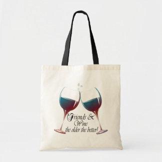 Os amigos e Wine mais velho o saco melhor da arte  Sacola Tote Budget
