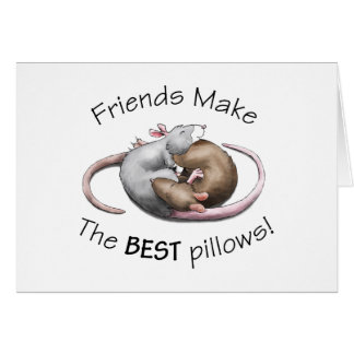 Os amigos fazem os MELHORES travesseiros! - cartão