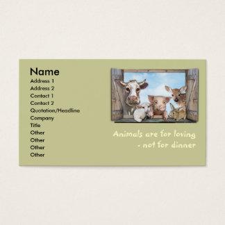 Os animais são amando cartão de visitas