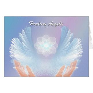 Os anjos curas, azul, obtêm o cartão bom