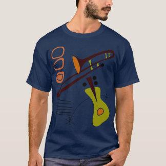 Os anos 50 retros camisa abstrata da guitarra & do