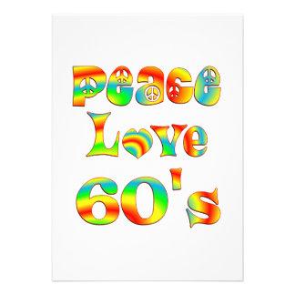 Os anos 60 do amor da paz convite