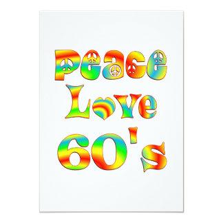 Os anos 60 do amor da paz convite 12.7 x 17.78cm