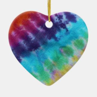 Os anos 60 do arco-íris do Hippie do teste padrão Ornamento De Cerâmica Coração